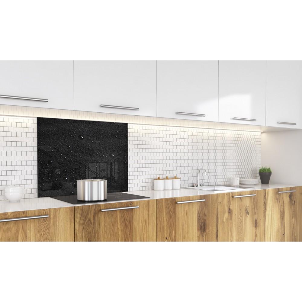 fond de hotte noir gouttes d 39 eau verre alu credence cuisine deco. Black Bedroom Furniture Sets. Home Design Ideas