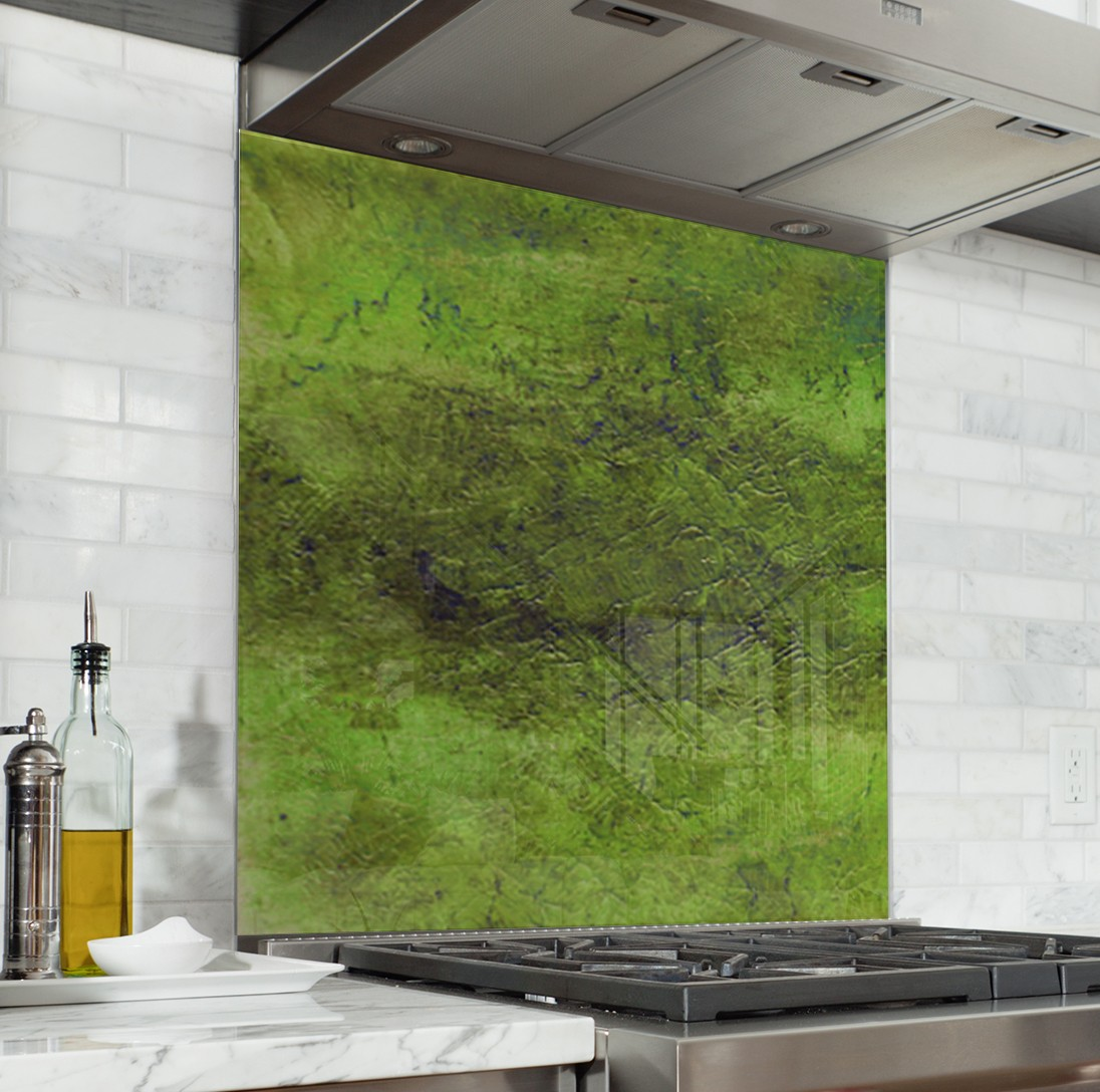 fond de hotte texture verte verre et alu credence cuisine deco. Black Bedroom Furniture Sets. Home Design Ideas