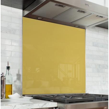 fond de hotte jaune bl verre alu credence cuisine deco. Black Bedroom Furniture Sets. Home Design Ideas