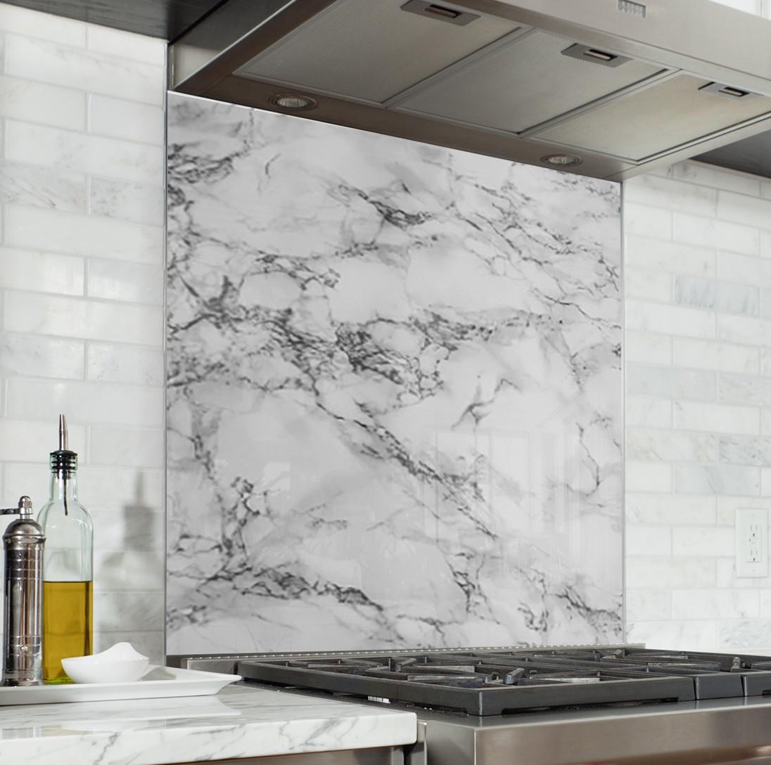 """Credence Cuisine Marbre Blanc fond de hotte """"texture marbre blanc"""""""