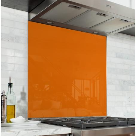 Fond de hotte Orange Potiron - Verre & alu - Credence Cuisine Deco