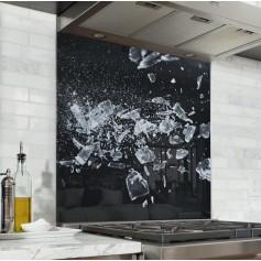Fond de hotte noir avec éclats de glace