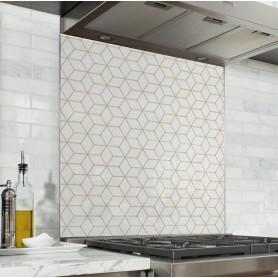 Fond de hotte blanc motif géométrique rétro or