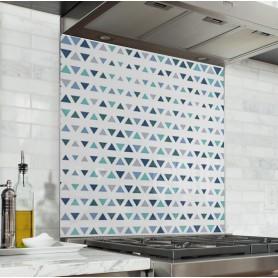 Fond de hotte de cuisine motif triangle scandinave bleu marine, bleu ciel et blanc