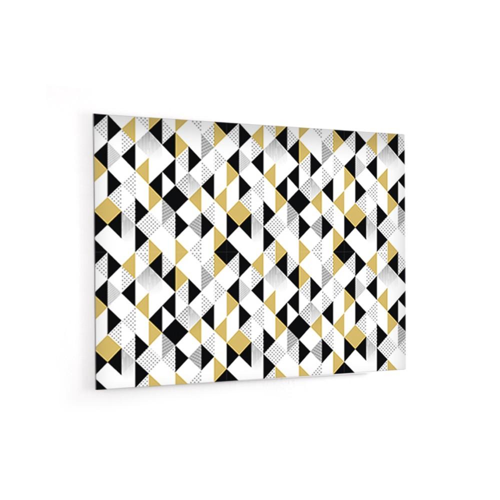 fond de hotte motifs triangles noir gris or credence. Black Bedroom Furniture Sets. Home Design Ideas