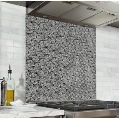 Fond de hotte noir et taupe motif géométrique cube