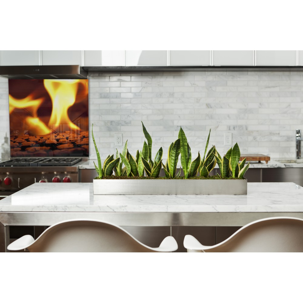 Fond de hotte feu flamme orange verre et alu credence cuisine deco - Image hotte de cuisine ...