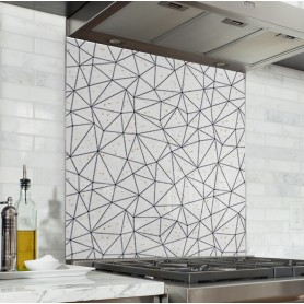 Fond de hotte blanc motif géométrique polygonal