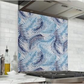 Fond de hotte avec feuilles de palmiers bleu marine et bleu ciel