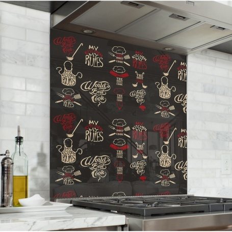 Fond de hotte effet ardoise avec illustrations de cuisine