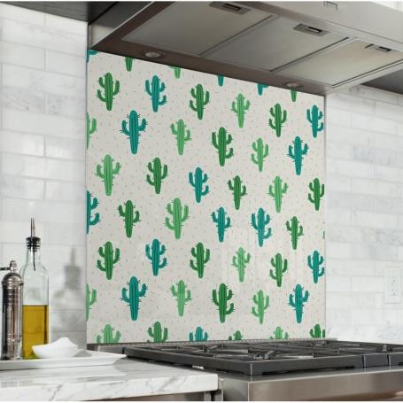 Fond de hotte avec motifs de cactus vert foncé et vert clair