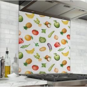 Fond de hotte avec motifs de fruits et légumes colorés