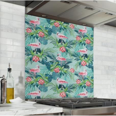 Fond de hotte effet jungle avec flamants turquoises