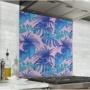 Fond de hotte rose avec feuilles bleues