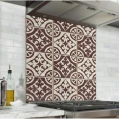 Fond de hotte effet carreaux de ciment, couleur chocolat et vanille