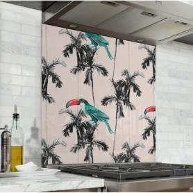 Fond de hotte rose pâle avec toucans bleus et palmiers