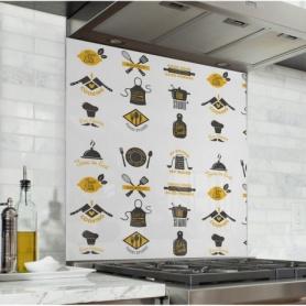 Fond de hotte avec imprimés cuisine jaune et noir