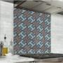 Fond de hotte avec rectangles bleu clair, bleu foncé et taupe