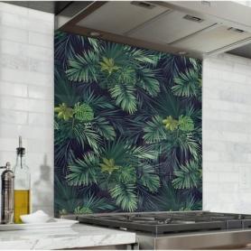 Fond de hotte noir avec feuilles tropicales