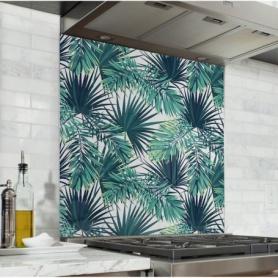 Fond de hotte avec plantes exotiques, vert clair et vert foncé