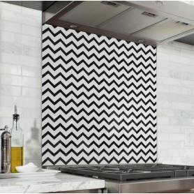 Fond de hotte motif zigzag noir et blanc