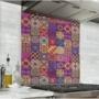 Fond de hotte effet carreaux de mosaïque rose et orangé