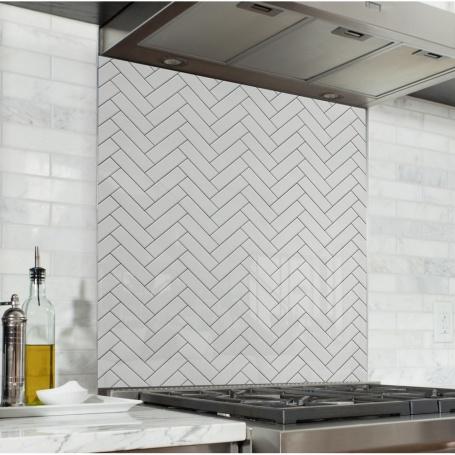 Fond de hotte carreaux blancs effet zigzag