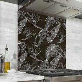 Fond de hotte noir avec feuilles blanches