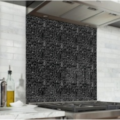 Fond de hotte noir avec motif pique nique blanc