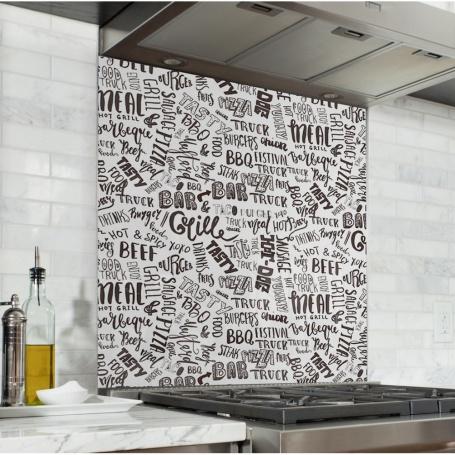 Fond de hotte blanc avec typographies noires barbecue