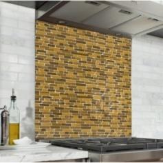 Fond de hotte effet briques militaires marron, kaki et jaune