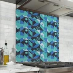 Fond de hotte géométrique bleu marine et bleu ciel, style scandinave