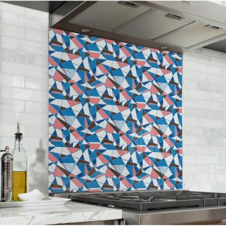 Fond de hotte effet mosaïque bleu et saumon