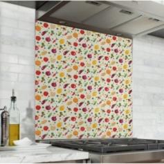 Fond de hotte motif fruits et légumes du marché