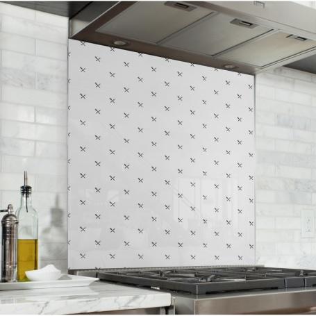Fond de hotte blanc avec motif couverts de cuisine