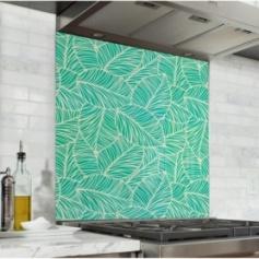 Fond de hotte vert avec motif feuilles de menthe