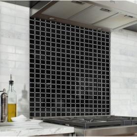 Fond de hotte noir avec carreaux effet rétro