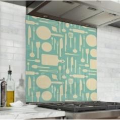 Fond de hotte vert clair avec motif ustensiles de cuisine jaune pâle