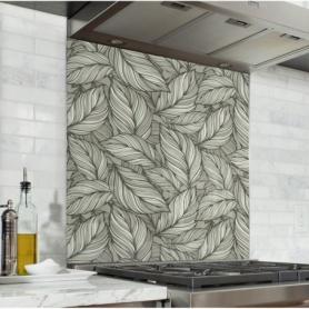 Fond de hotte motif de feuilles vertes et grises