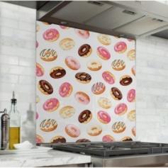 Fond de hotte blanc avec motifs donuts multicolores