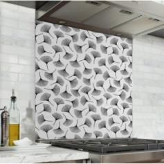 Fond de hotte blanc avec fleurs effet encre de Chine