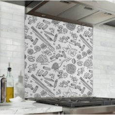Fond de hotte blanc avec motif dessins de pâtes