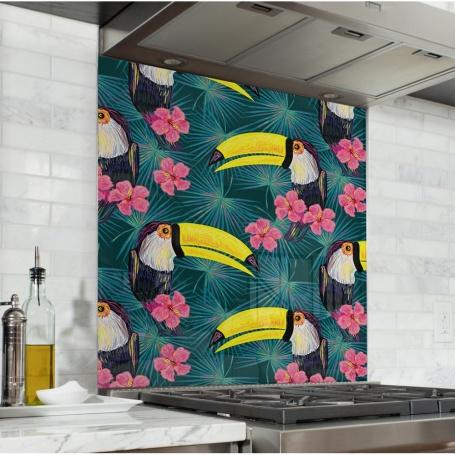 Fond de hotte avec motif toucans, hibiscus et feuilles vertes