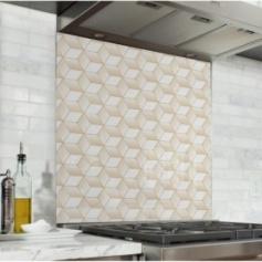 Fond de hotte géométrique avec motif cube or