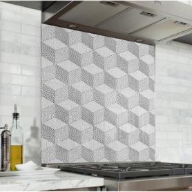 Fond de hotte blanc et noir avec motif de cubes, effet pointillisme