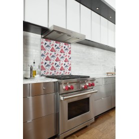 Fond de hotte blanc avec motif triangles rose et bleu indigo