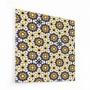 Fond de hotte à motif fleurs mosaïques vintage jaune et bleu