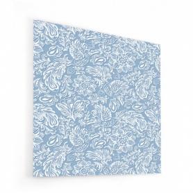 Fond de hotte bleu ciel avec ornement blanc