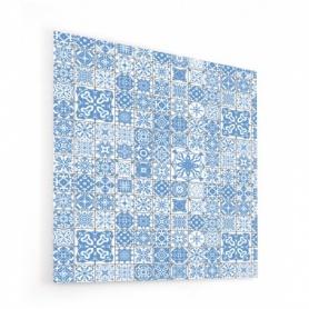 Fond de hotte effet mosaïque bleu ciel