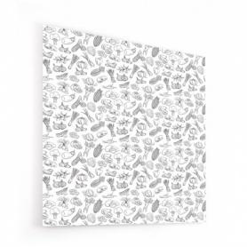 Fond de hotte avec dessins de potager, noir et blanc